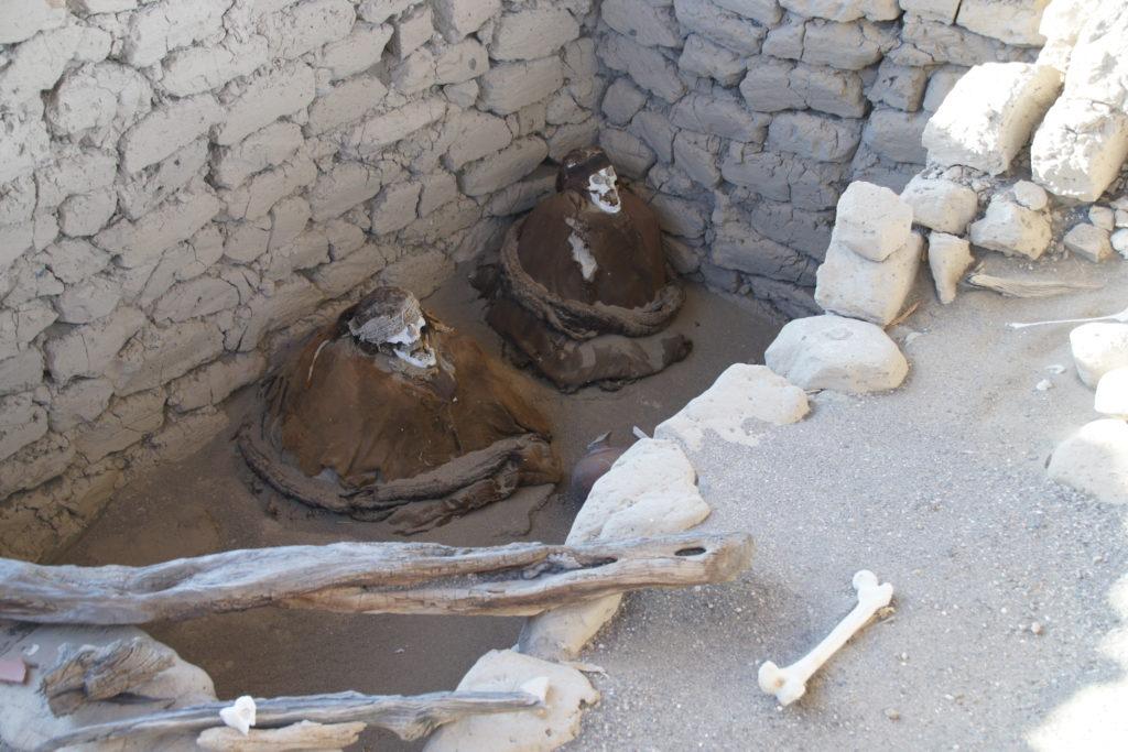 Momies dans le cimetière de CHAUCHILLA pendant le circuit autour de NAZCA