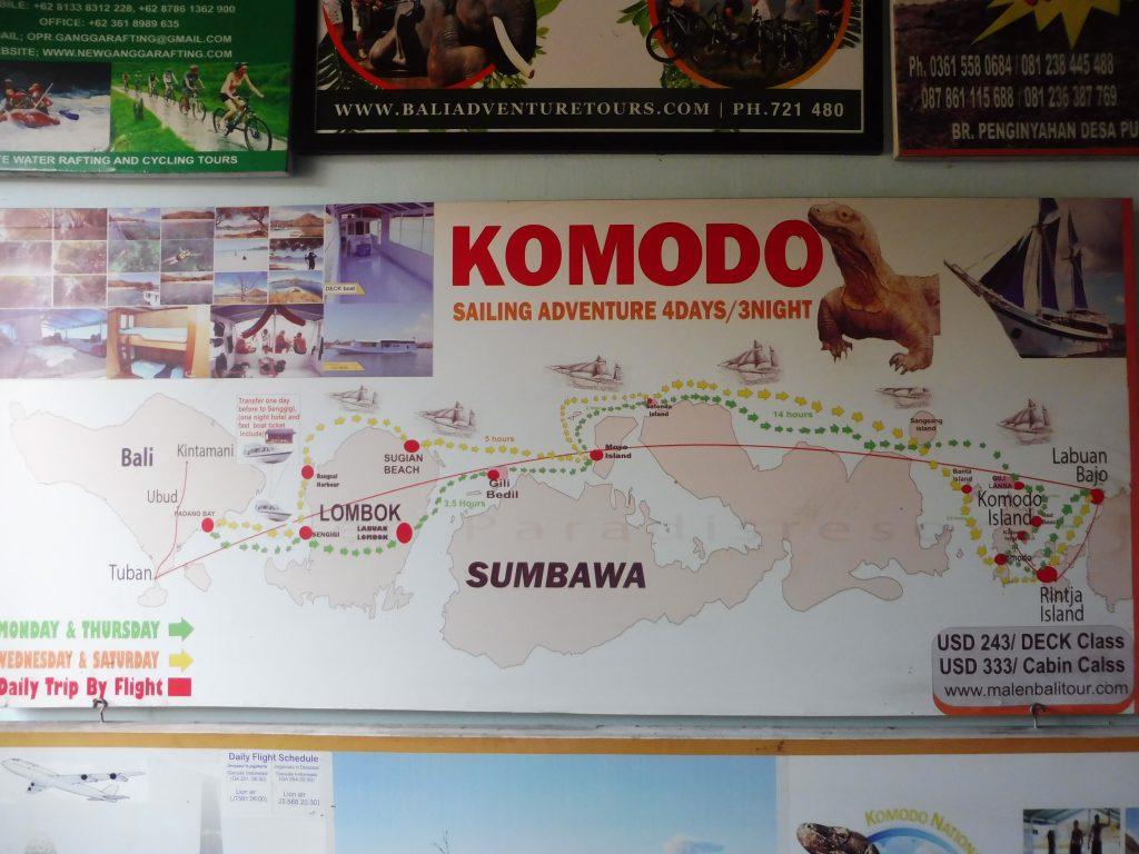 Exemple d'excursions proposées au départ d'UBUD pour d'autres îles en Indonésie