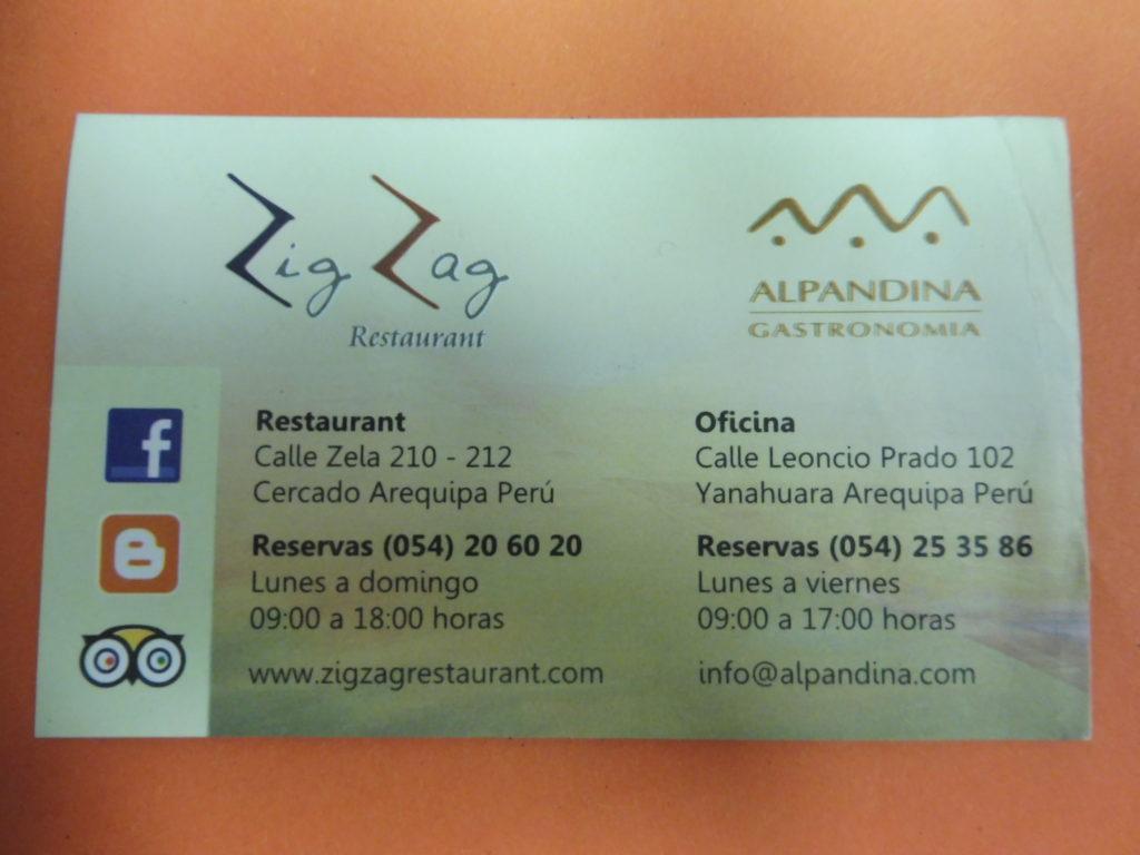 visite arequipa - Carte informations restaurant ZIG ZAG