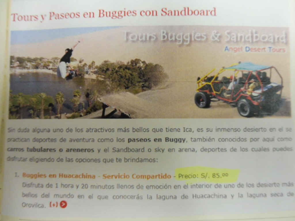 ITINERAIRE LIMA ICA HUACACHINA Agence locale pour tours en buggy