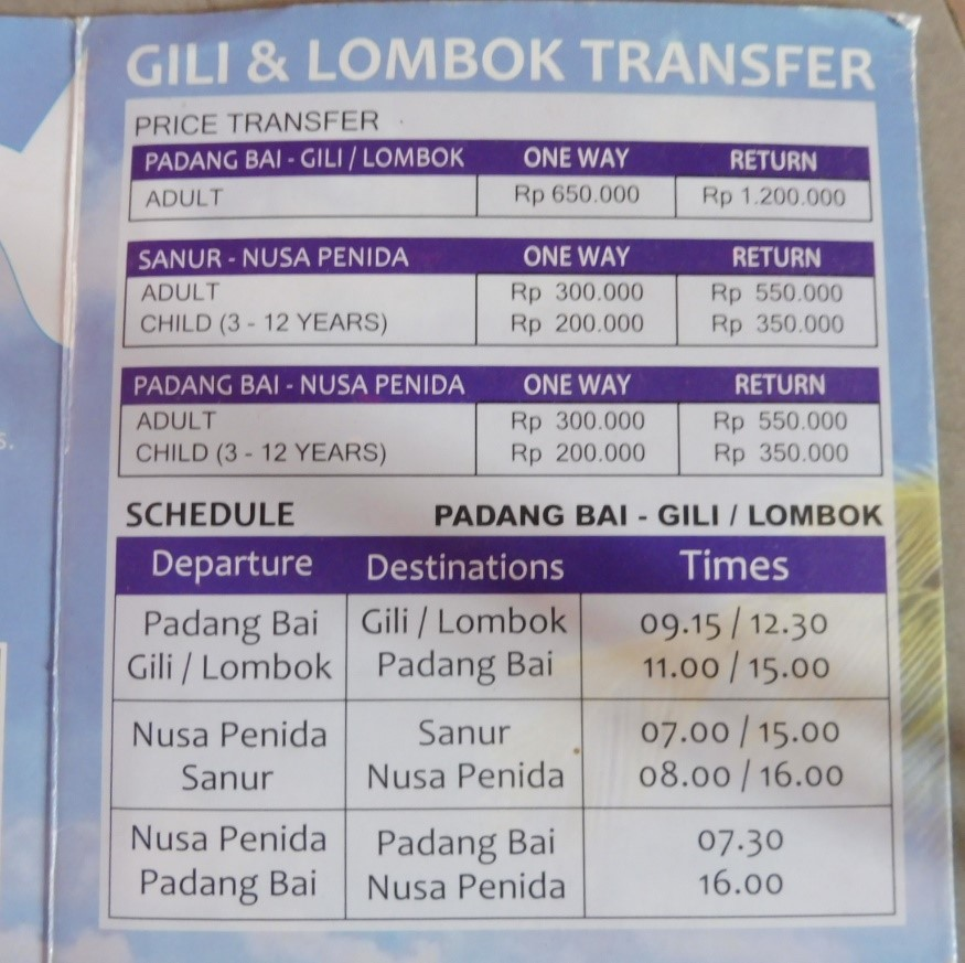 TARIFS DES TRAVERSEES BALI GILI AIR LOMBOK