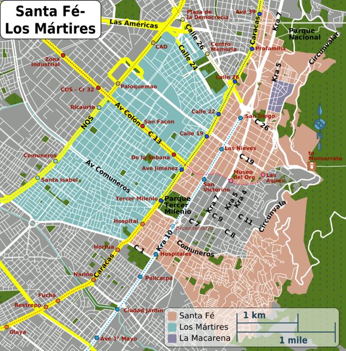 Carte du quartier SANTA FE à BOGOTA