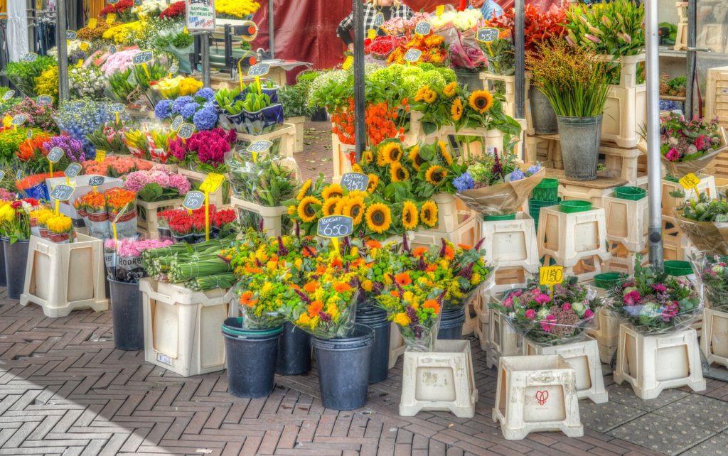 Singel et le marché aux fleurs d'amsterdam