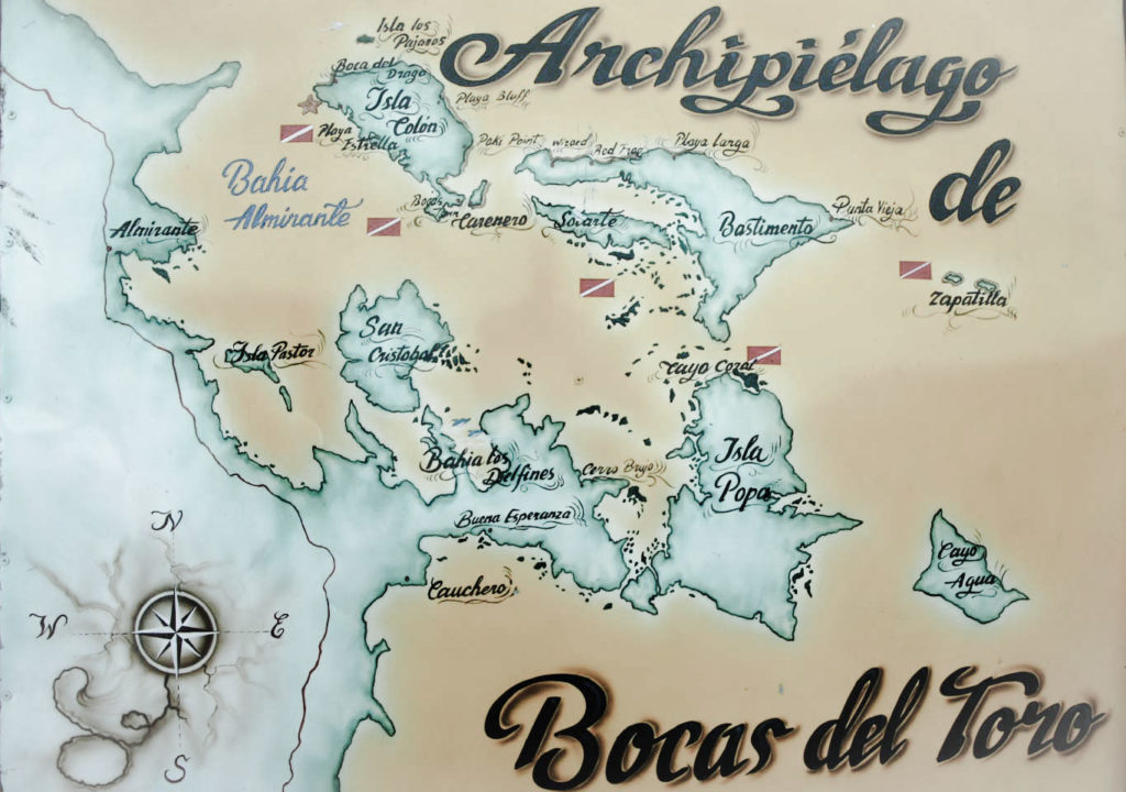 Carte archipel Bocas del Toro - plus belles plages Panama