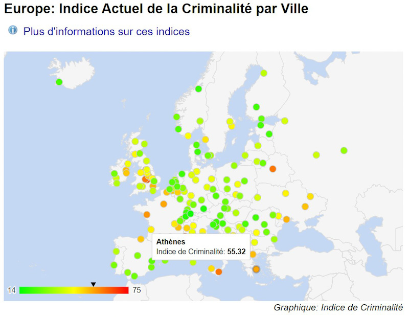 Athène ville dangereuse - Carte criminalité en Europe