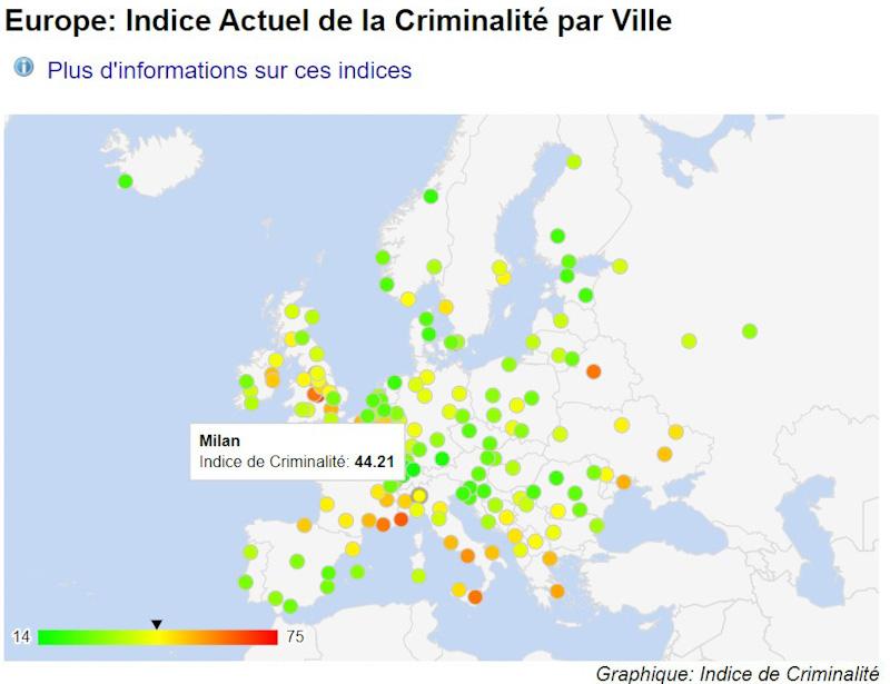 Carte Numbeo del nivel de criminalidad ciudad europa