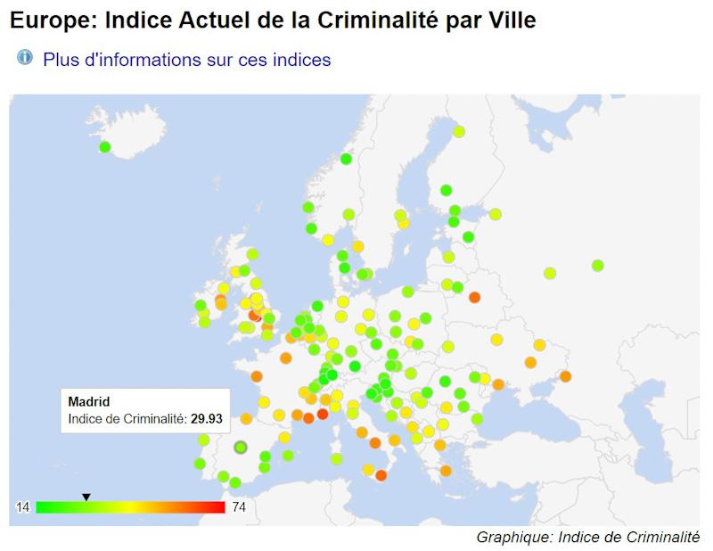 mapa Madrid en las ciudades mas peligrosas de europa