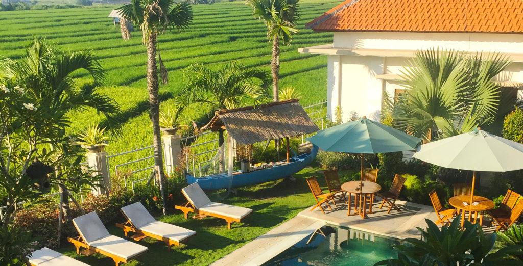 Vue des rizières à HOTEL PAS CHER A CANGGU