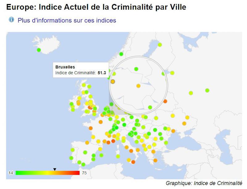 Bruxelles Carte criminalité en Europe