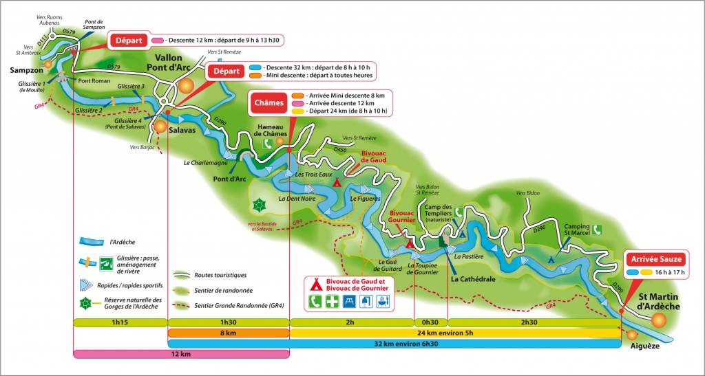 Карта ущелья Ардеш и деятельности