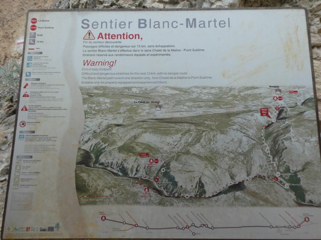 Carte itinéraire randonnée sentier Blanc Martel
