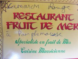CARTE ILE MAURICE COTE NORD carte du restaurant recommandé