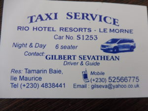 BUDGET ILE MAURICE - coordonnées taxi