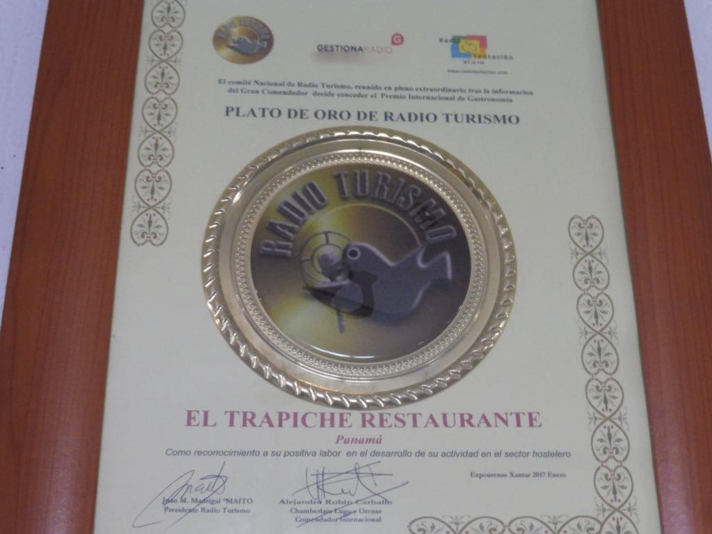 Prix plato de oro Restaurant El Trapiche Panama City