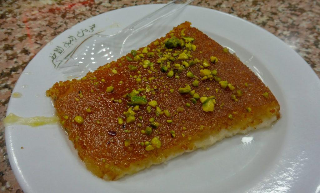 Dégustation de kenafeh dans la meilleure patisserie d'Amman