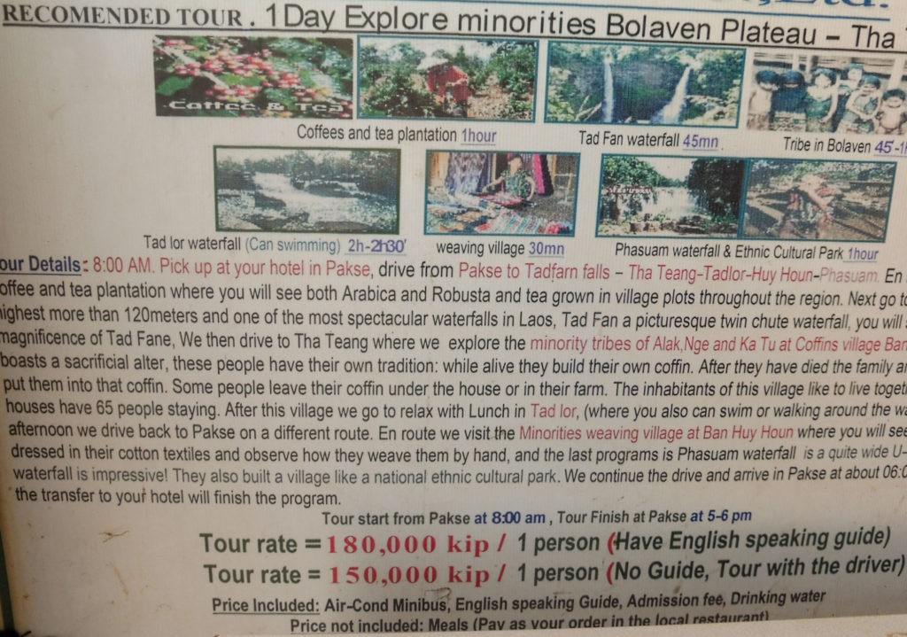 1 day tour in bolavens from Pakse