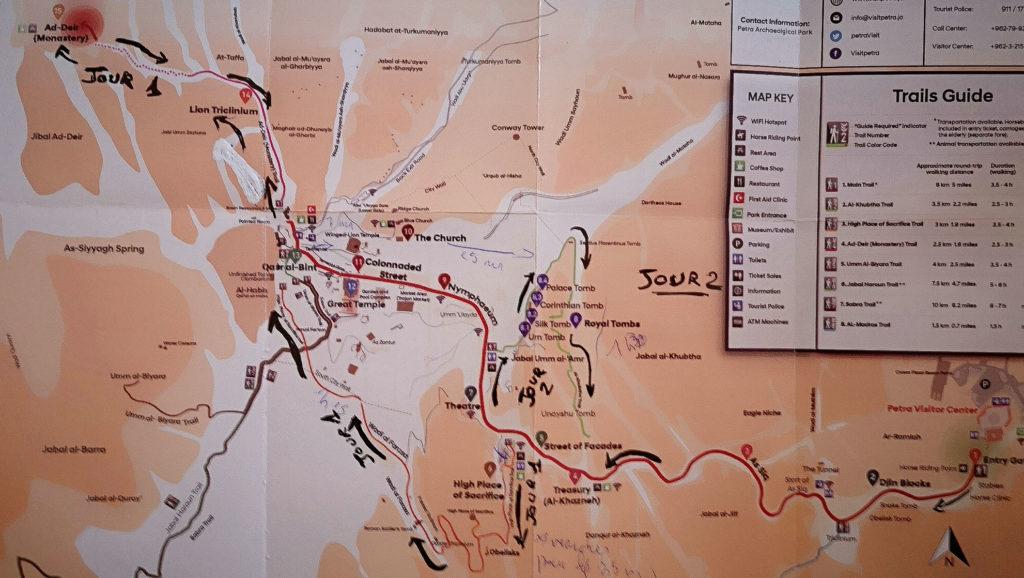 Carte de notre itinéraire de visite du 1er jour à Petra