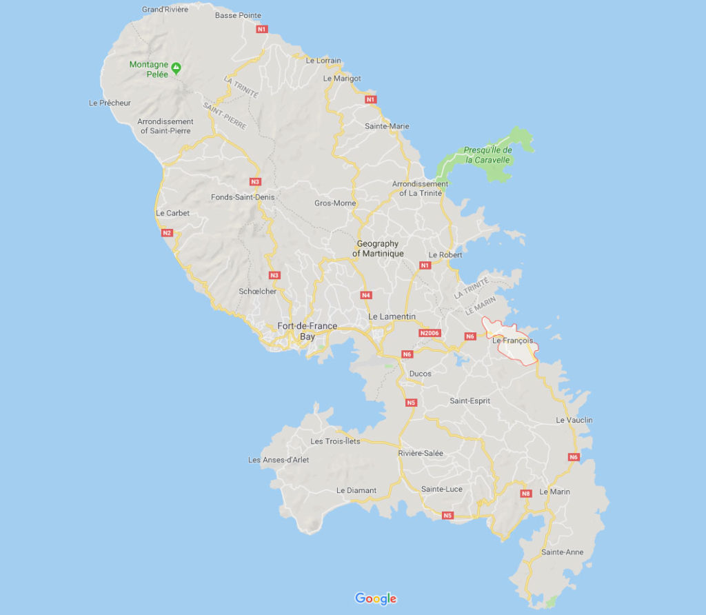 Carte Martinique pour savoir quelle côte choisir pour son hôtel