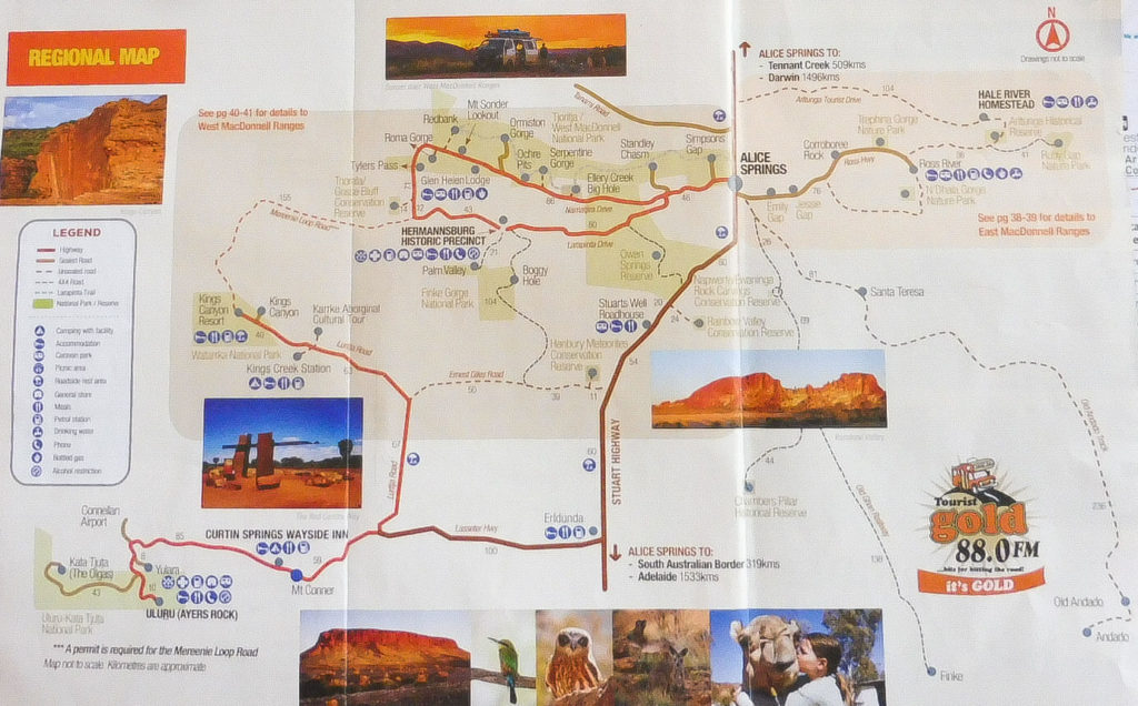 Red Centre Road trip Map to show how to get to Kings Canyon